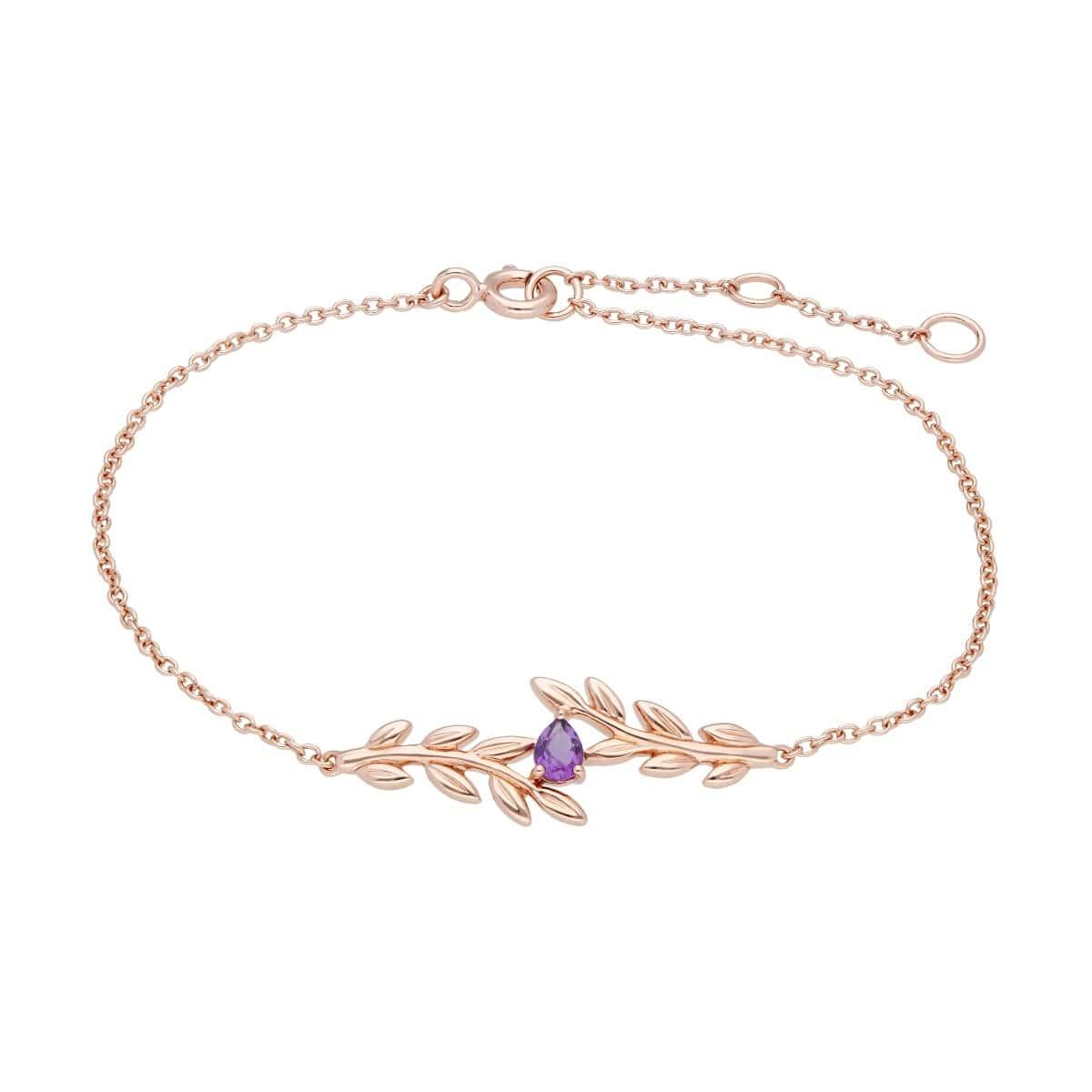 Rose Gold O Leaf Amethyst Bracelet