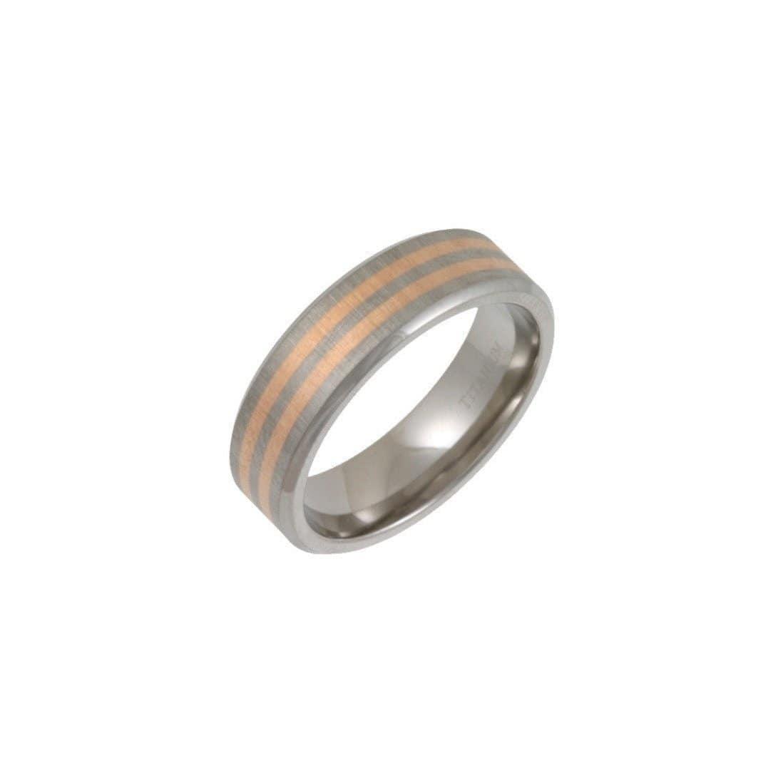 Titanium & Two 9kt Rose Gold Bands 7mm Flat Court-Shape Wedding Ring