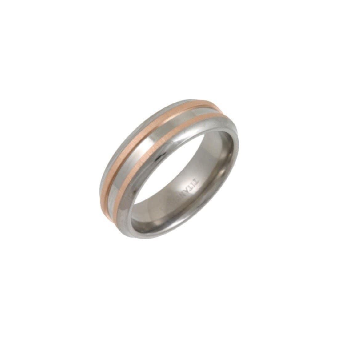 Titanium & 9kt Rose Gold Inlay 7mm Wedding Ring