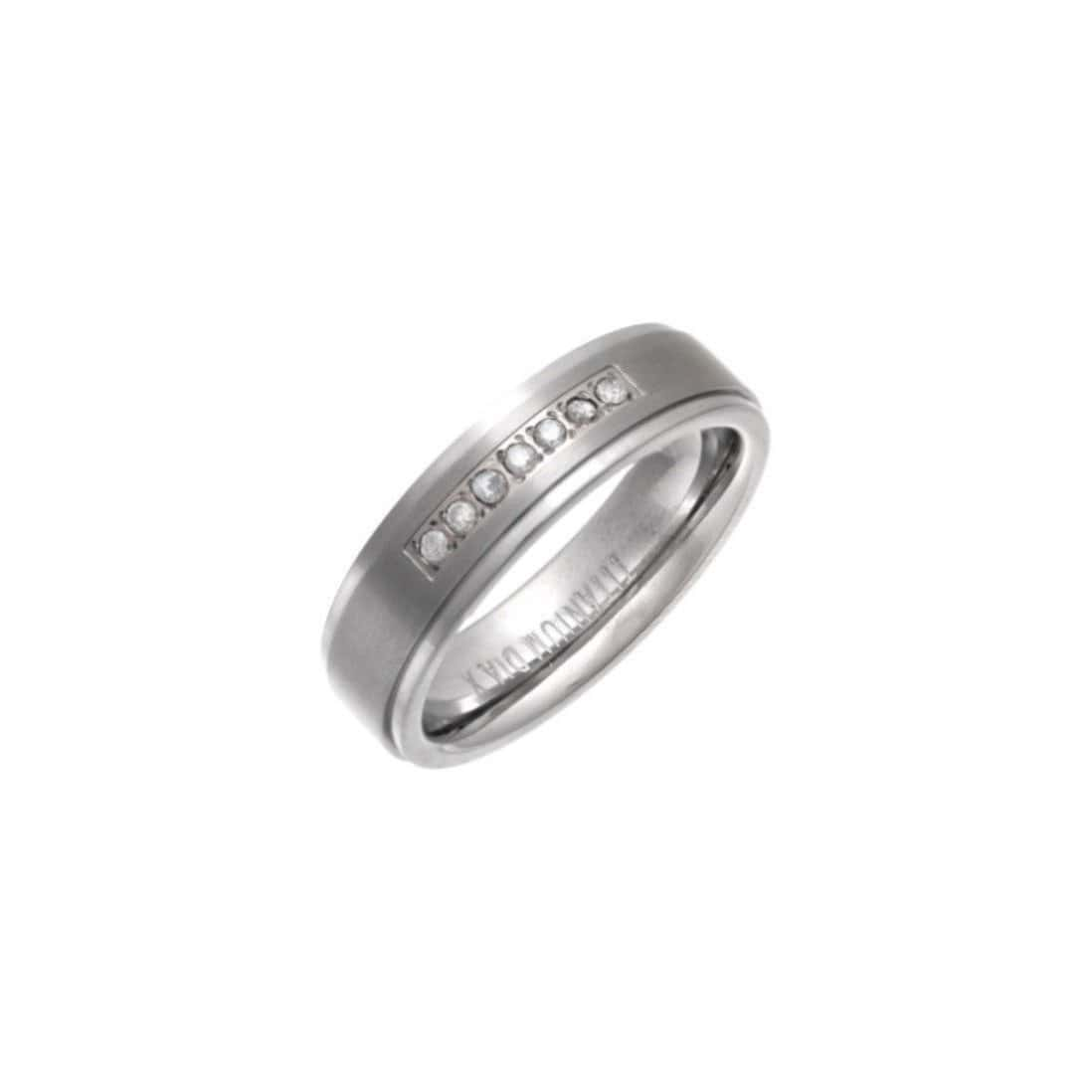 Titanium & Round Diamonds Flat Court-Shape Embossed Wedding Ring