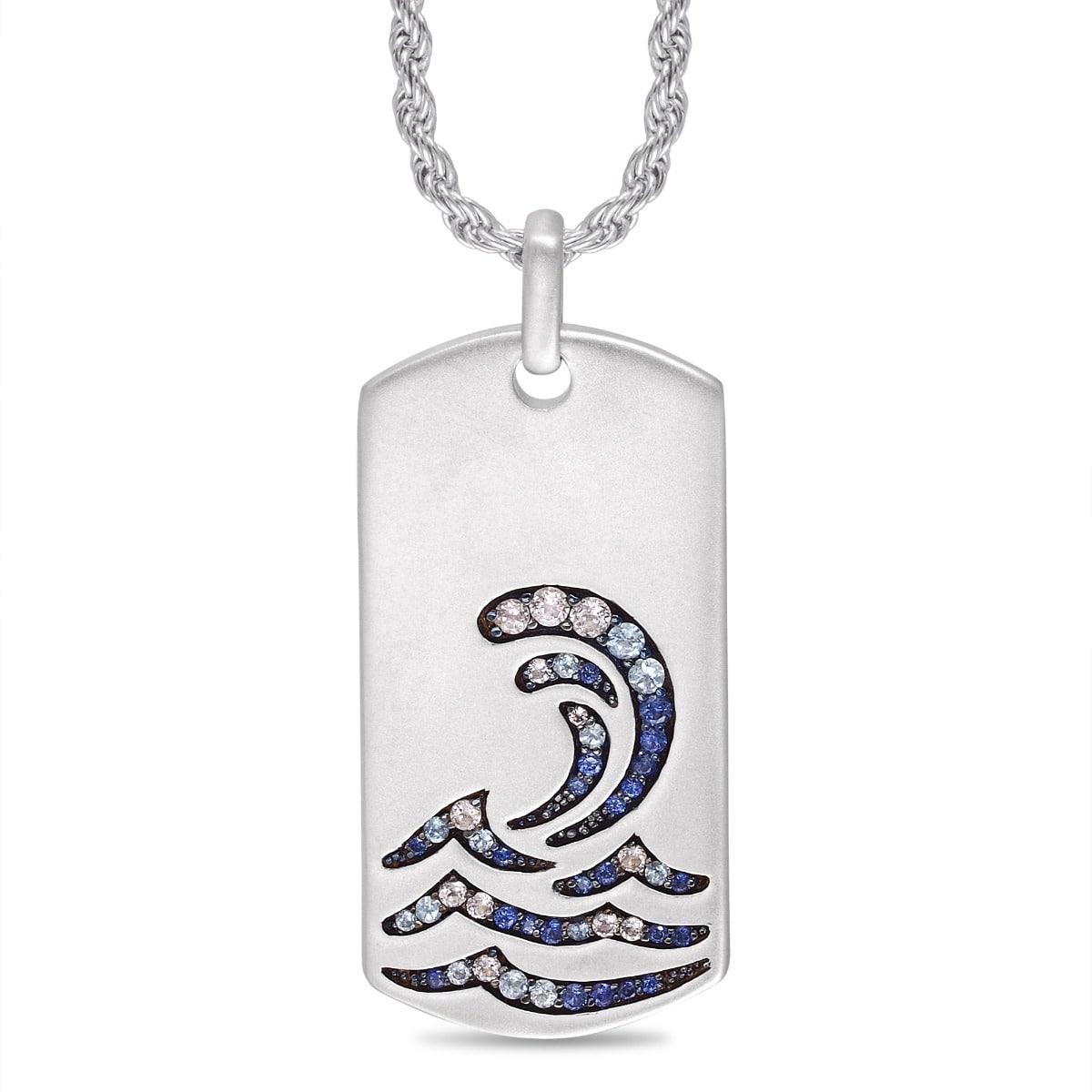 Rhodium Plated Sterling Silver Surfrider Beach White Topaz & Blue Sapphire Stone Tag