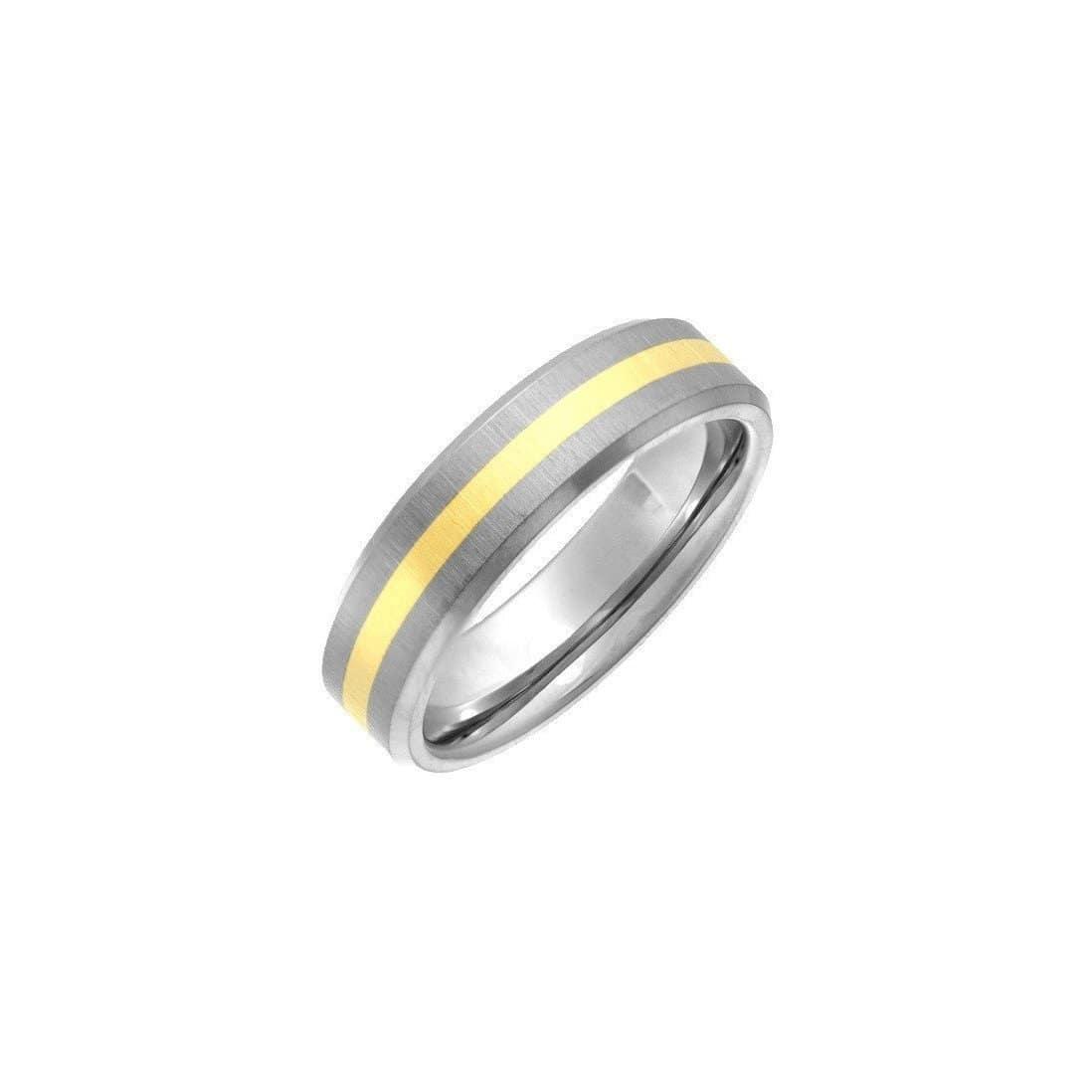 Titanium & 9kt Yellow Gold Inlay 6mm Flat Court-Shape Wedding Ring