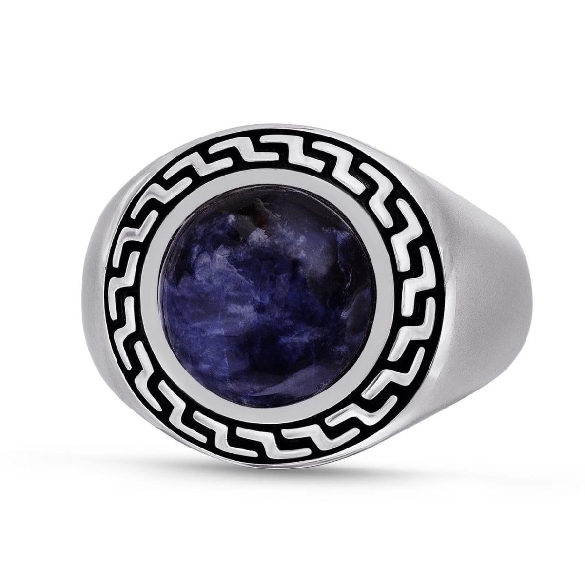 Rhodium Plated Sterling Silver Dark Blue Sodalite Stone Ring