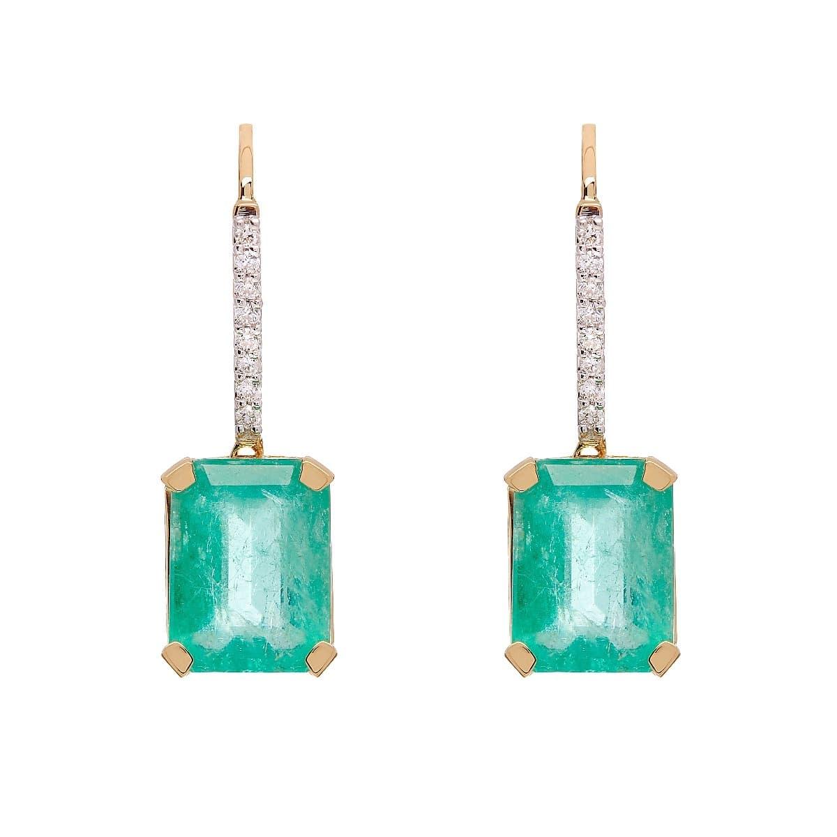 18kt Yellow Gold Emerald & Diamond Earrings