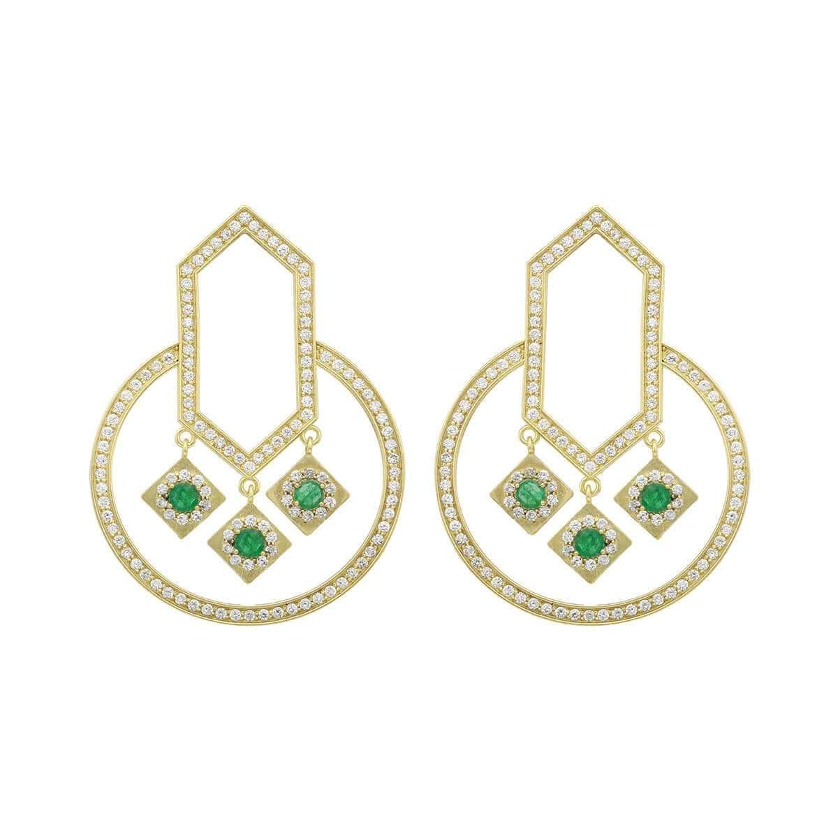 18kt Yellow Gold Emerald & Diamond Circle Of Life Geometric Round Earrings