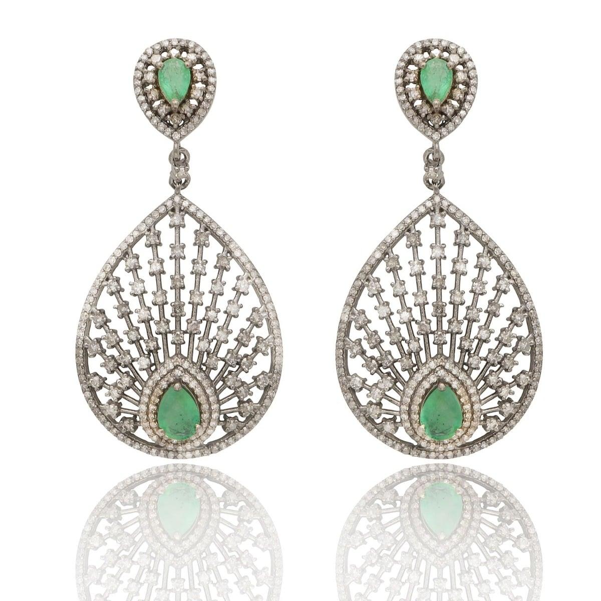 Rambagh Peacock Fan Emerald and Diamond Bridal Earrings