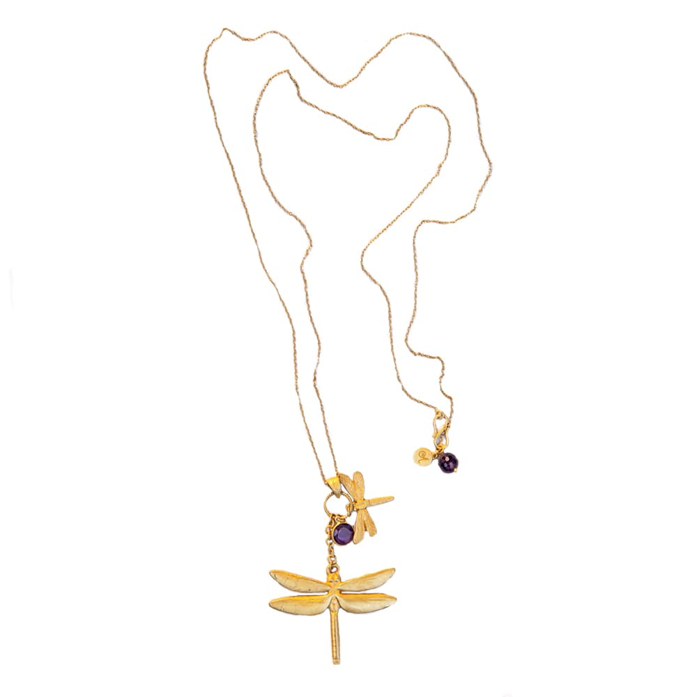 Dragonfly Necklace With Amethyst