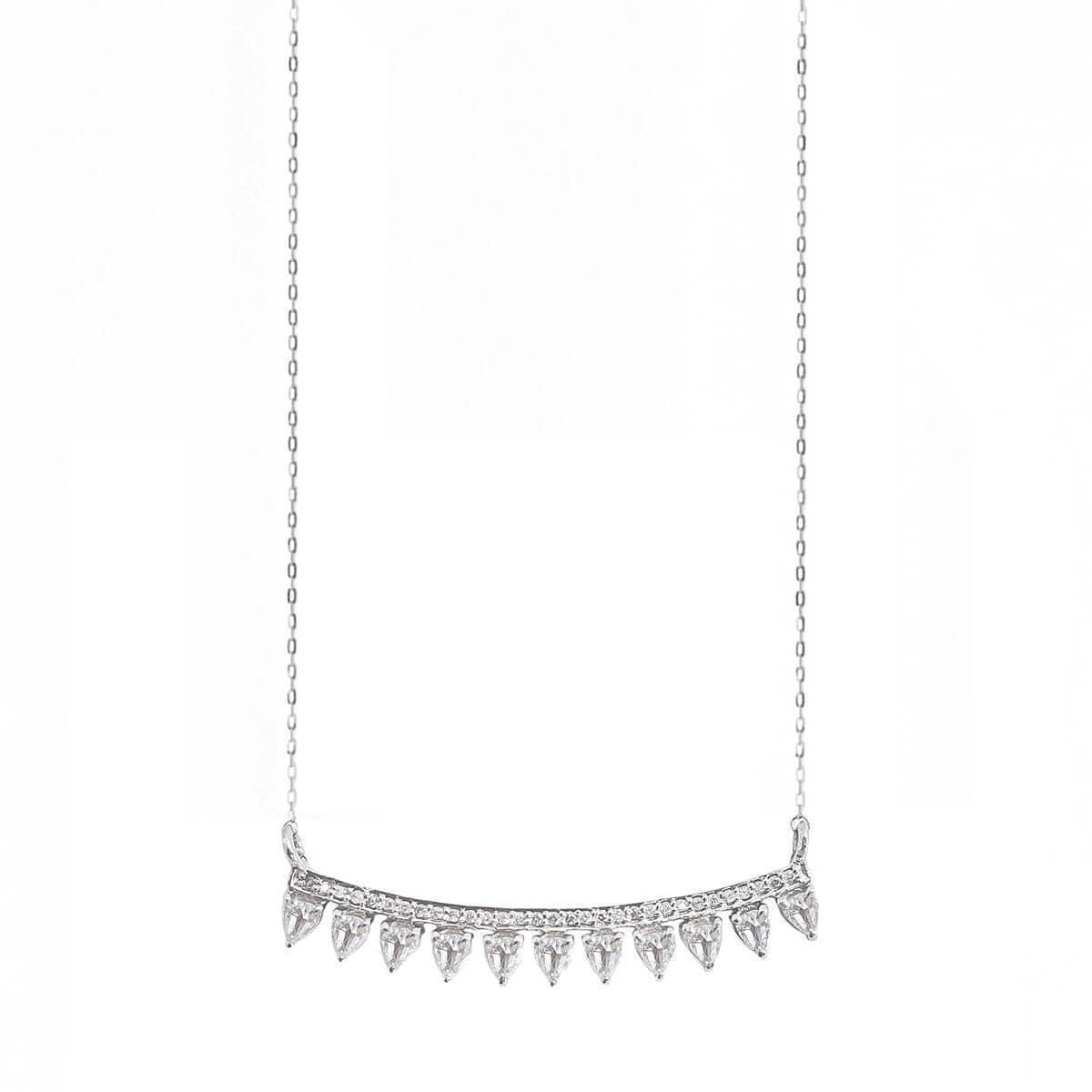 Diamond Bar Necklace With Rose Cut Diamonds