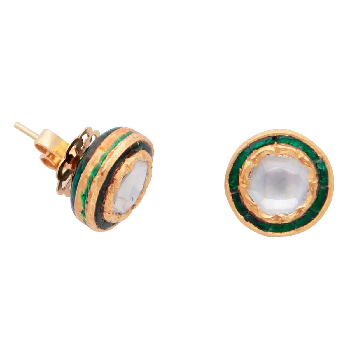 1562 'Jodha Bai' 22kt Gold Natural Diamond and Emerald Stud Earrings (round)