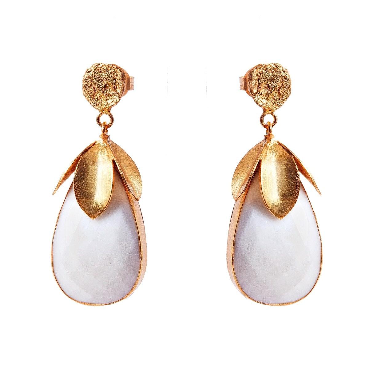 White Opal Drop Leaf Earrings