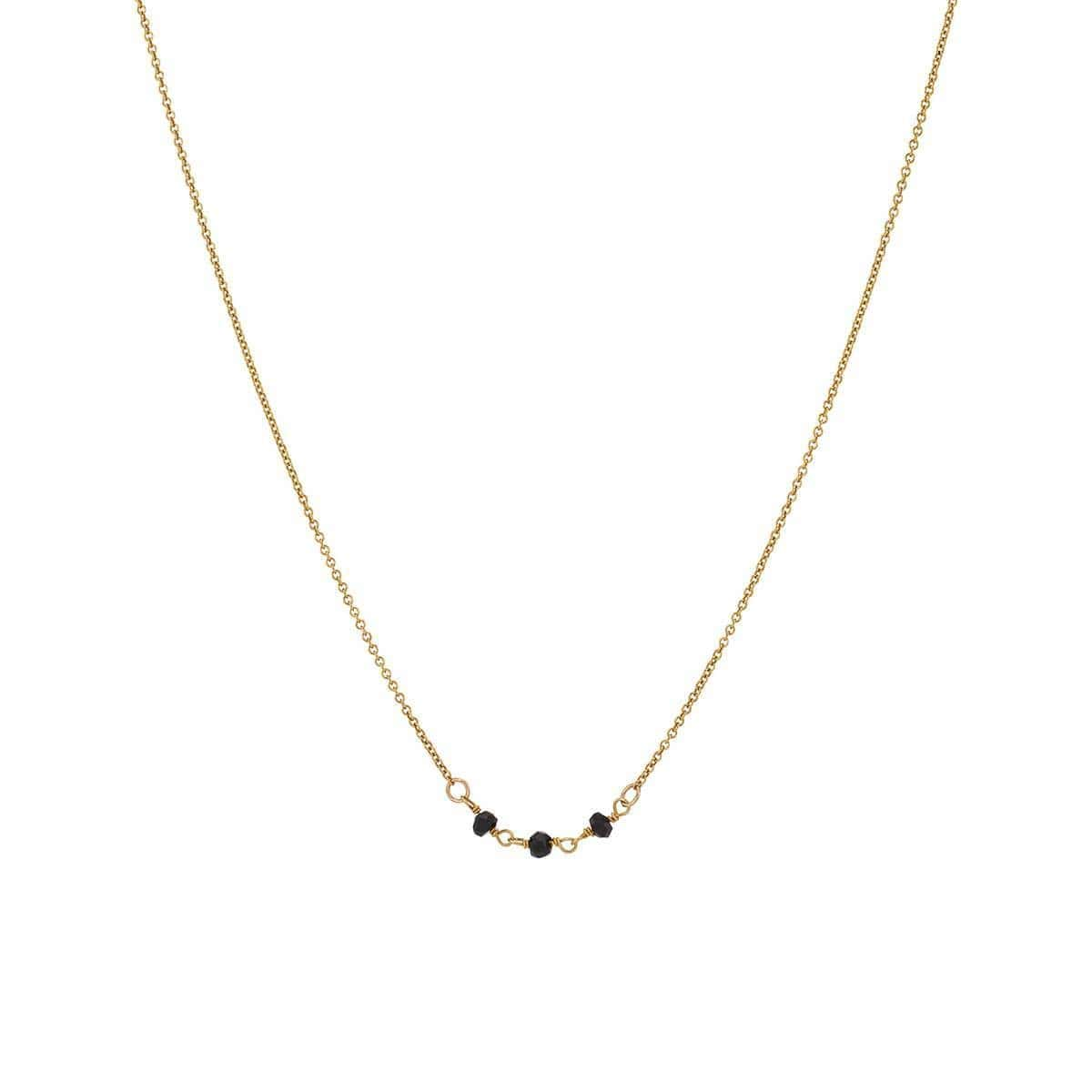 Yellow Gold Elegant Three Gemstone Necklace