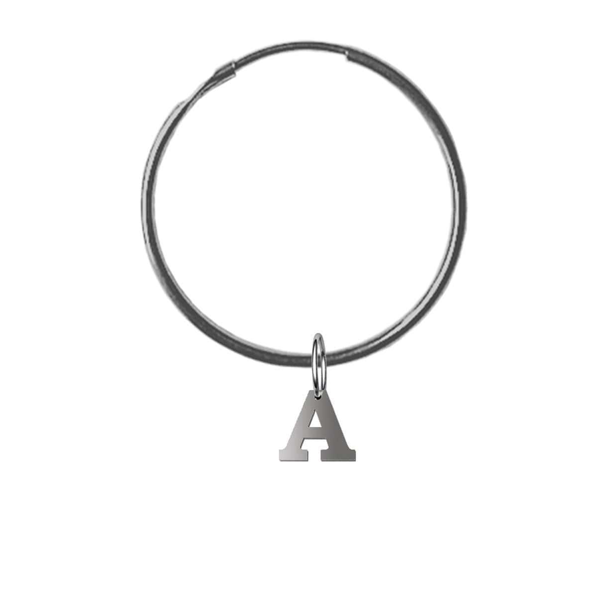 Alphallumer Hoop Earring - Sterling Silver - Black Rhodium Hoop