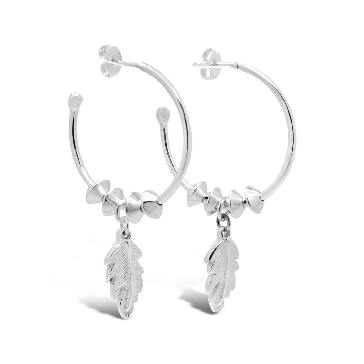 Leaf Dangle Medium Hoop Earrings