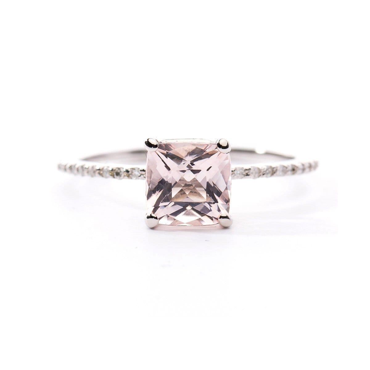 Princess Cut Morganite Ring