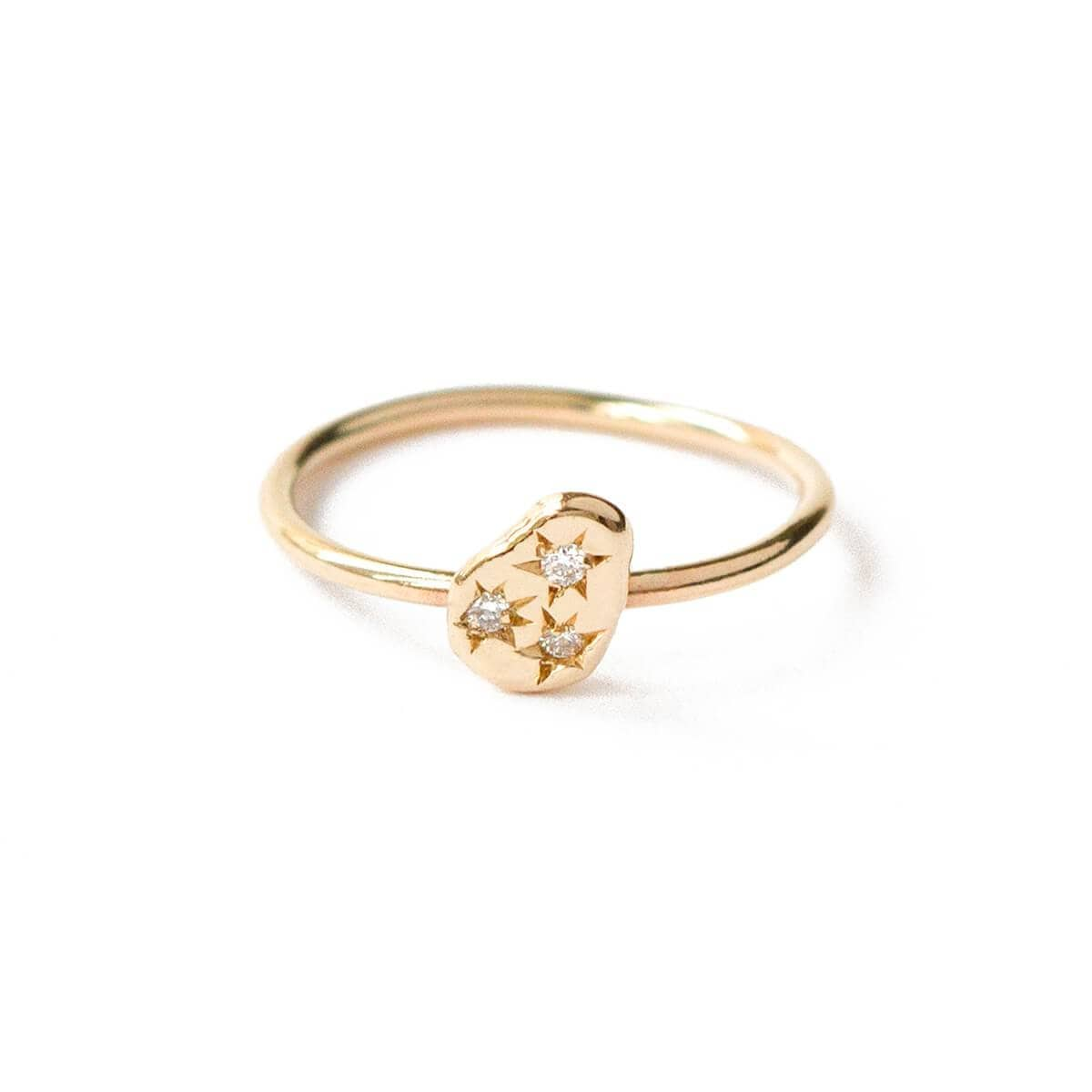 9kt Yellow Gold Pear Accent Stackable Ring With Diamonds