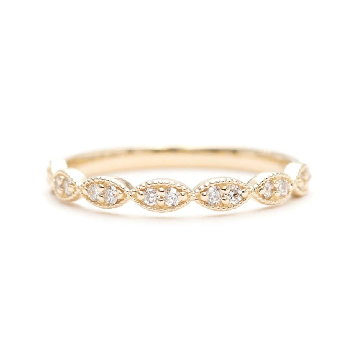 14kt Gold Half Eternity Diamond Stacking Wedding Ring