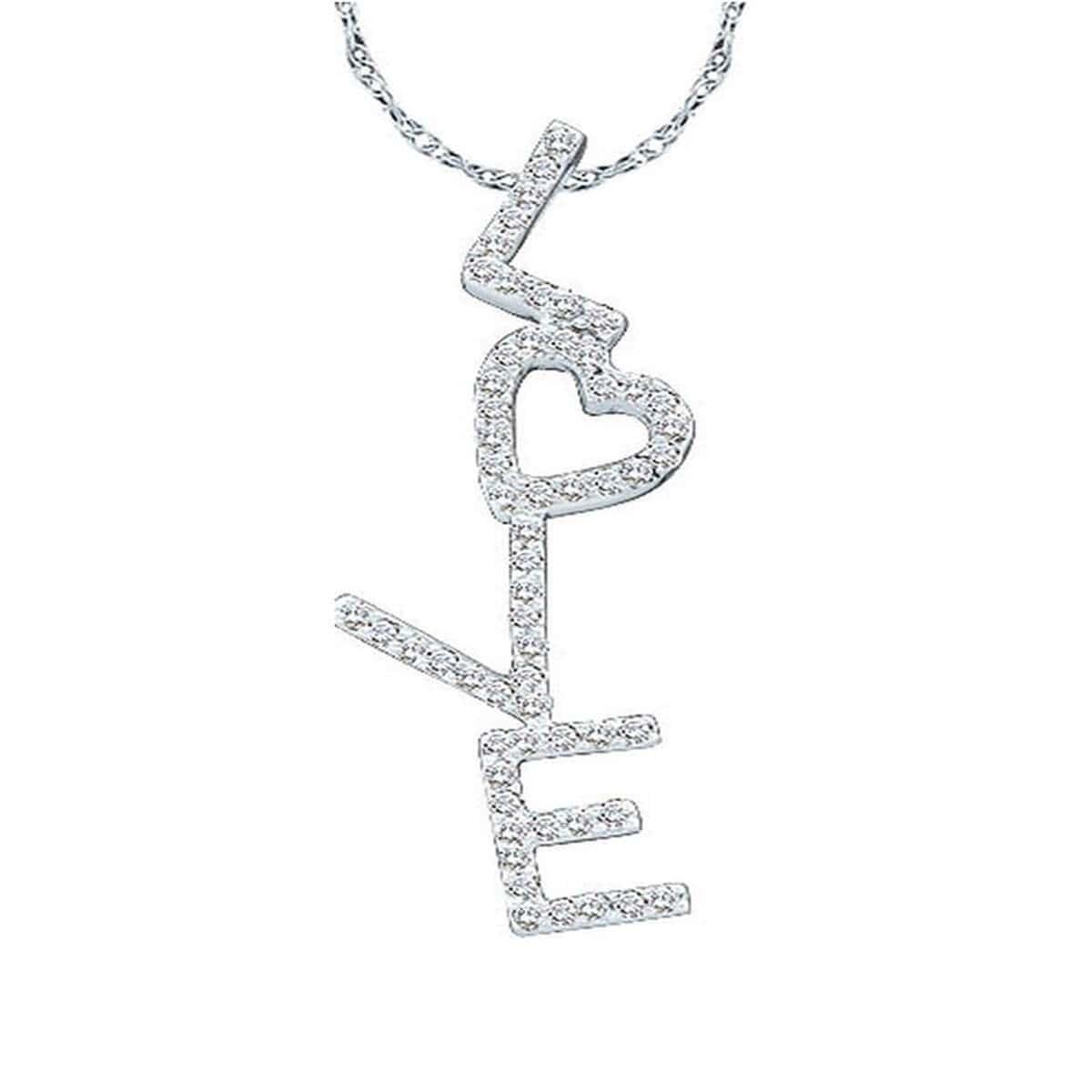 14kt White Gold Diamond Love Heart Pendant