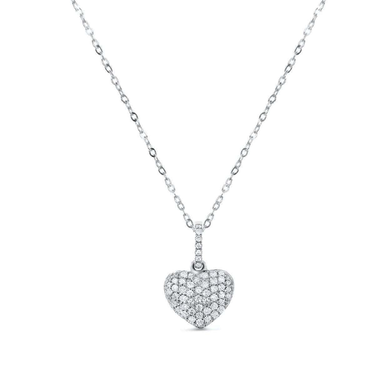 18kt White Gold Puffy Heart Necklace