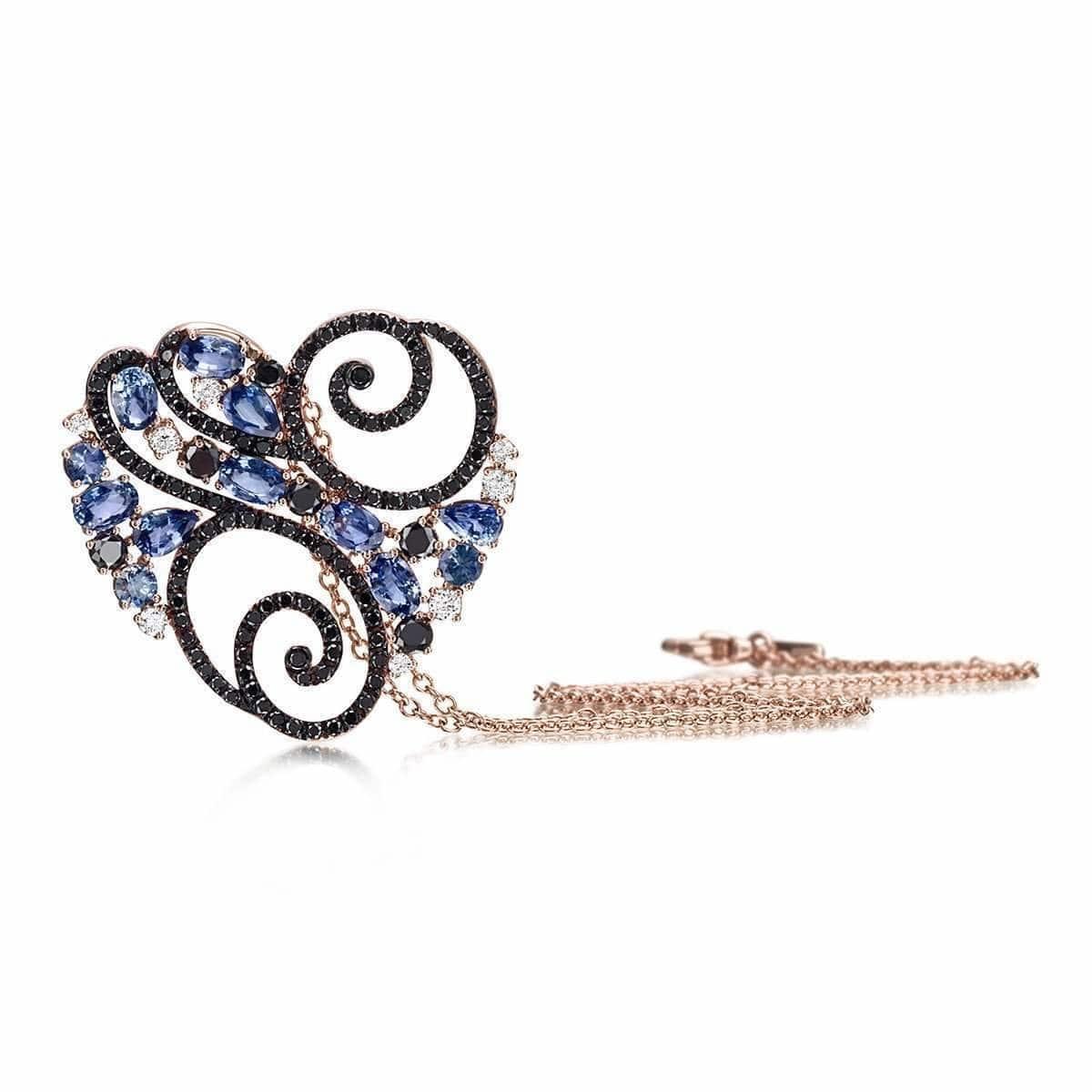Rose Gold, Diamond & Sapphire Ramage Collection Necklace | Pinomanna
