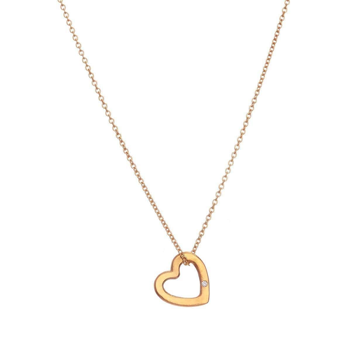 Yellow Gold Plated Diamond Heart Charm Necklace