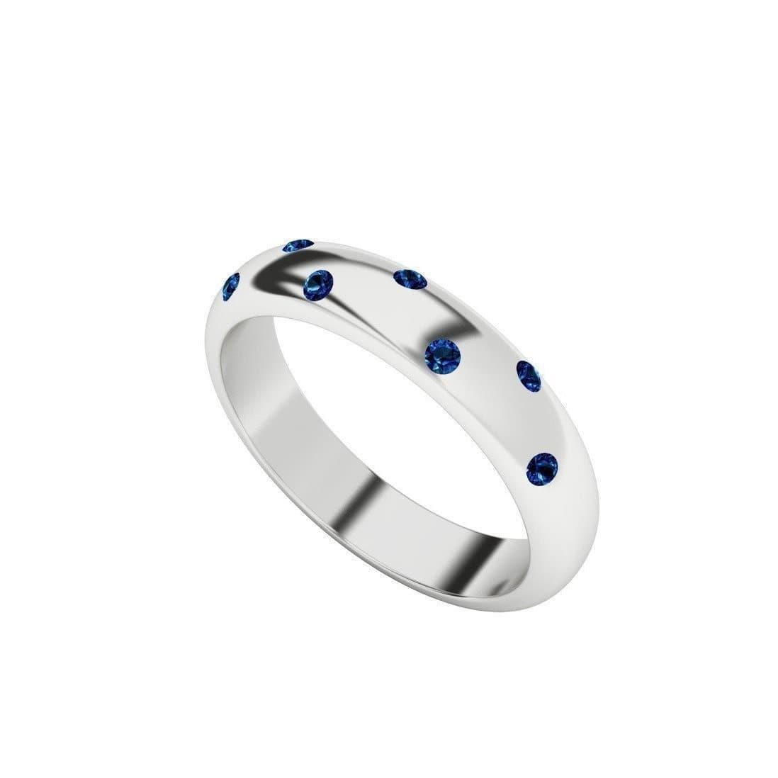 Blue Sapphire 9kt White Gold Domed Ring