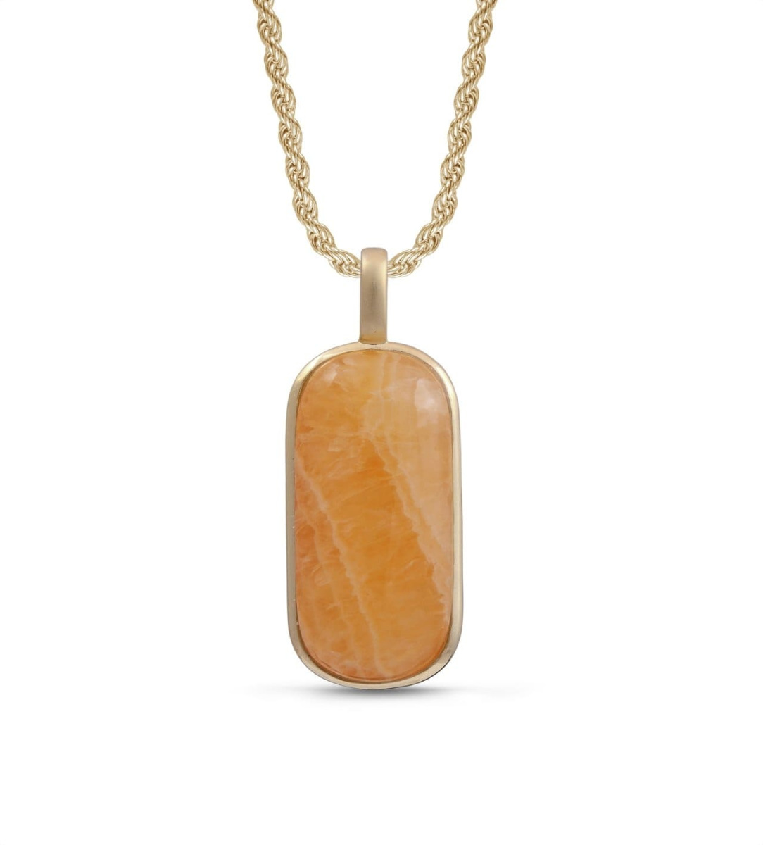 Yellow Gold Plated Yellow Lace Agate Tag