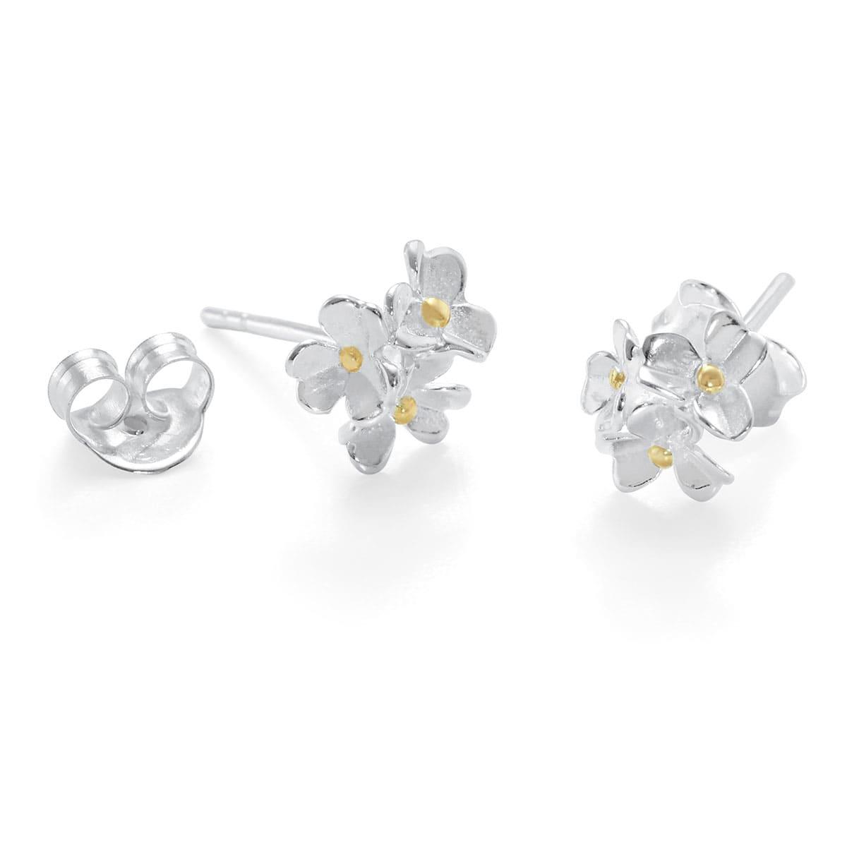 Dainty Silver Flower Stud Earrings