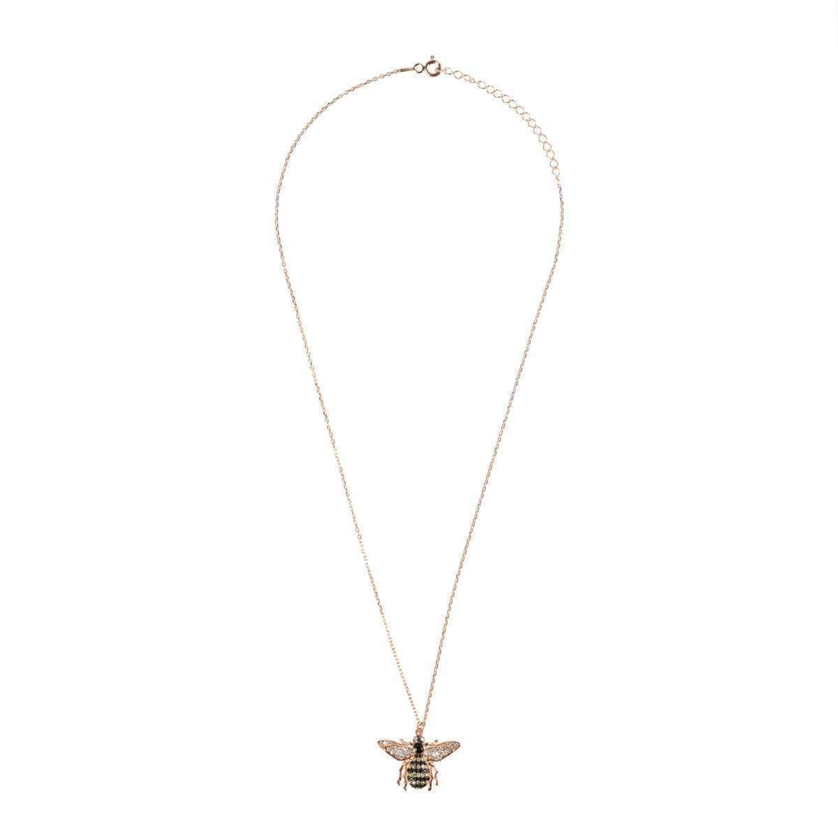 Rose Gold Plated Silver Honey Bee Pendant Necklace