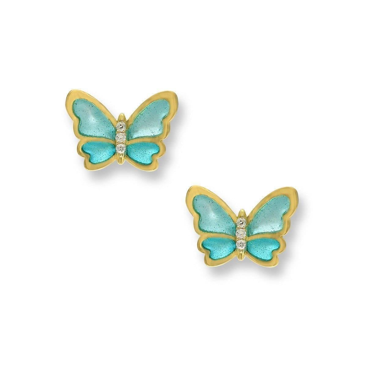 18kt Gold Butterfly Turquoise Stud Earrings