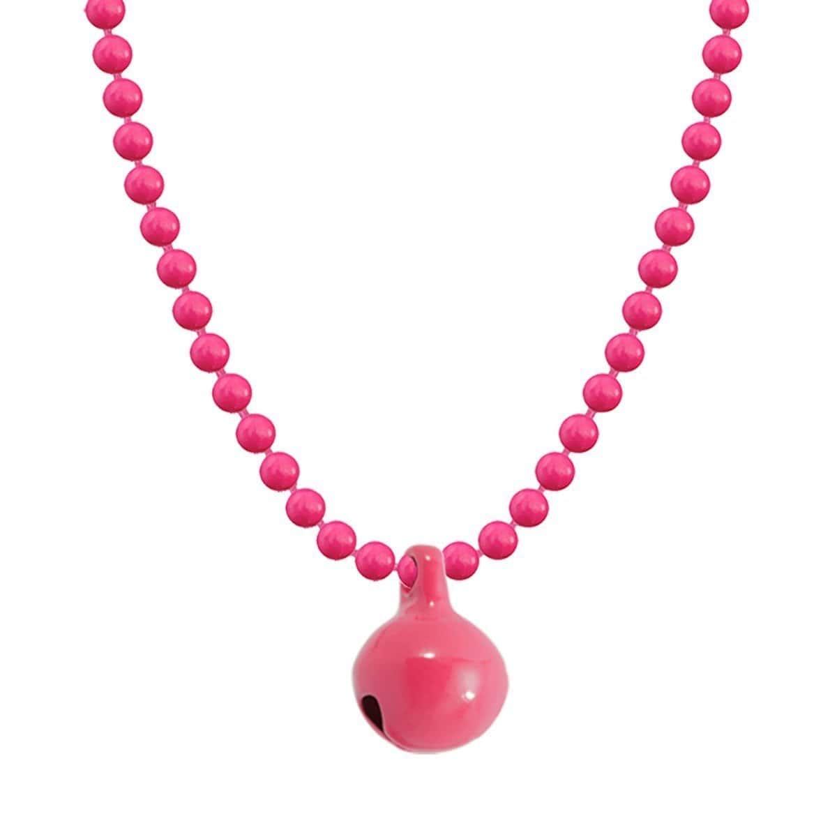Allumette Neon Bell Necklace - Neon Pink