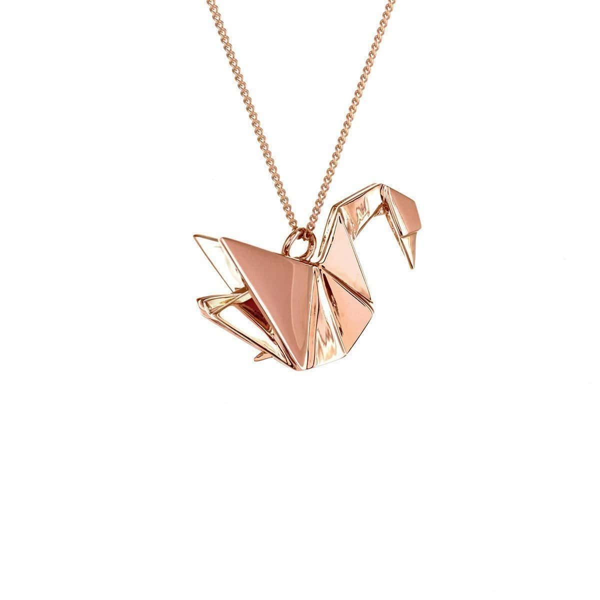 Sterling Silver Pink Gold Plated Swan Necklace