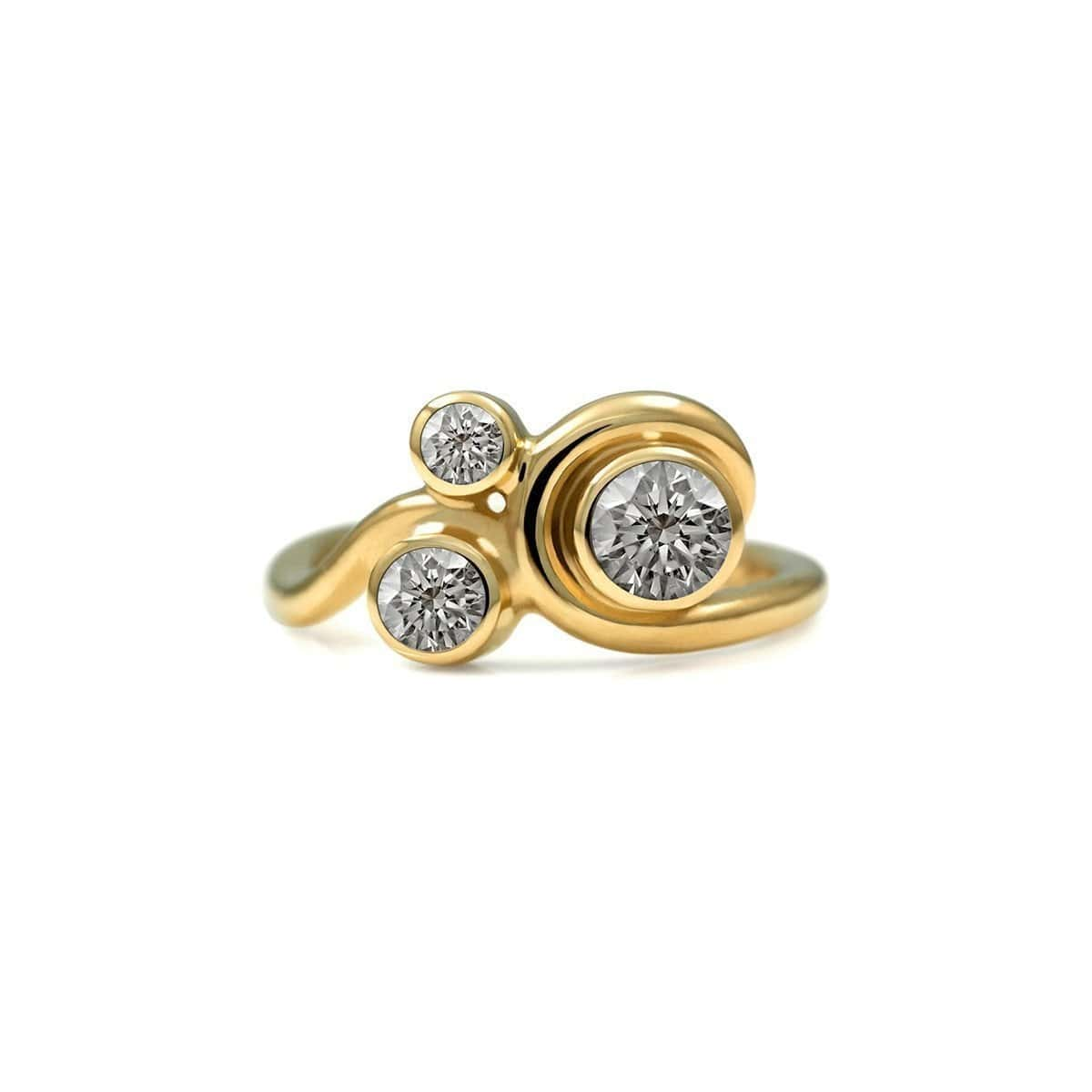 Entwine Three Stone Ring In Gold With Diamond