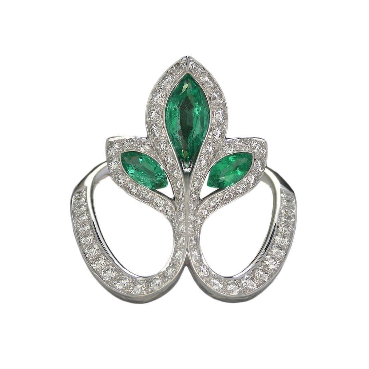 White Gold, Emerald & Diamond Royale Lys Ring | Baenteli