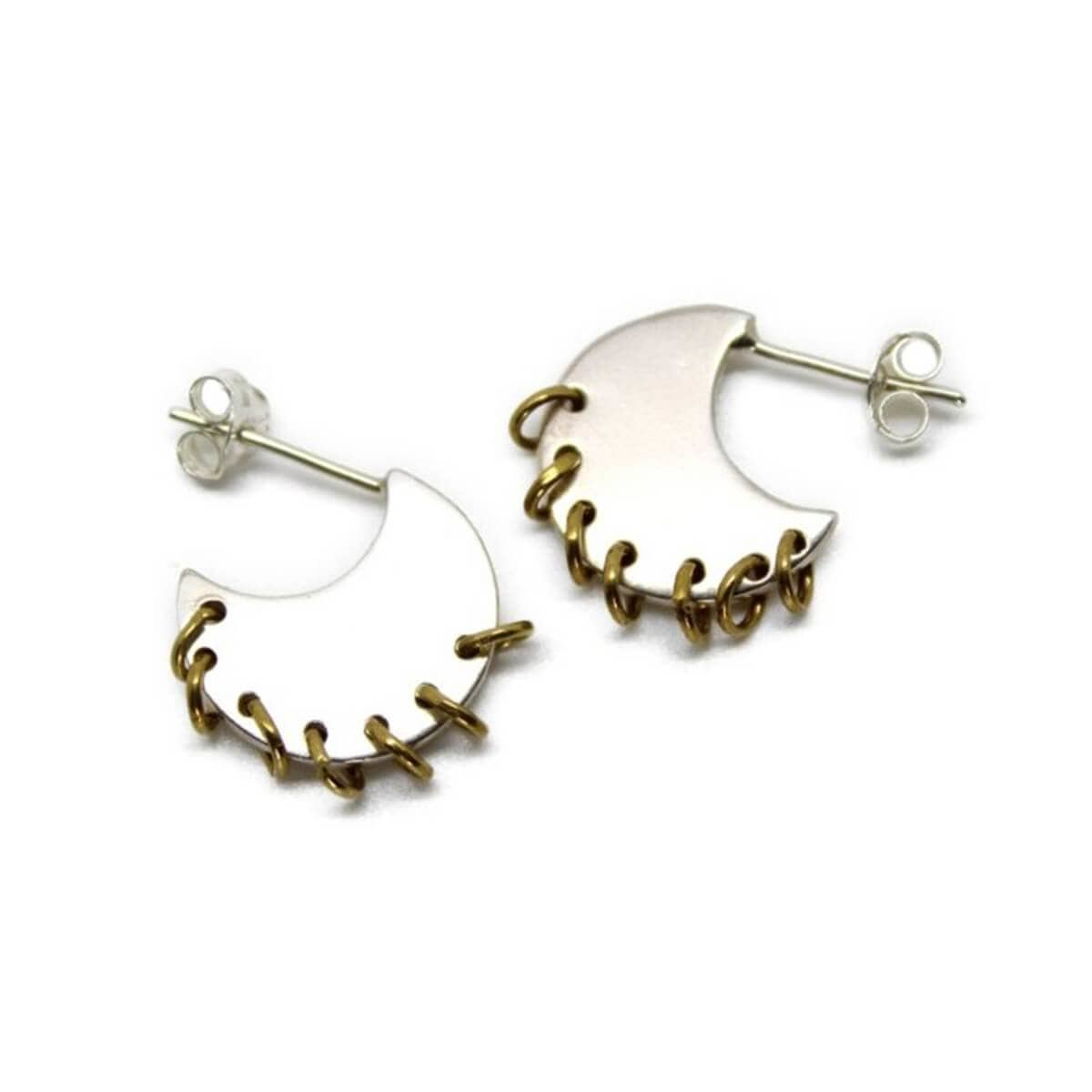 Sterling Silver Pierced Moon Hoops