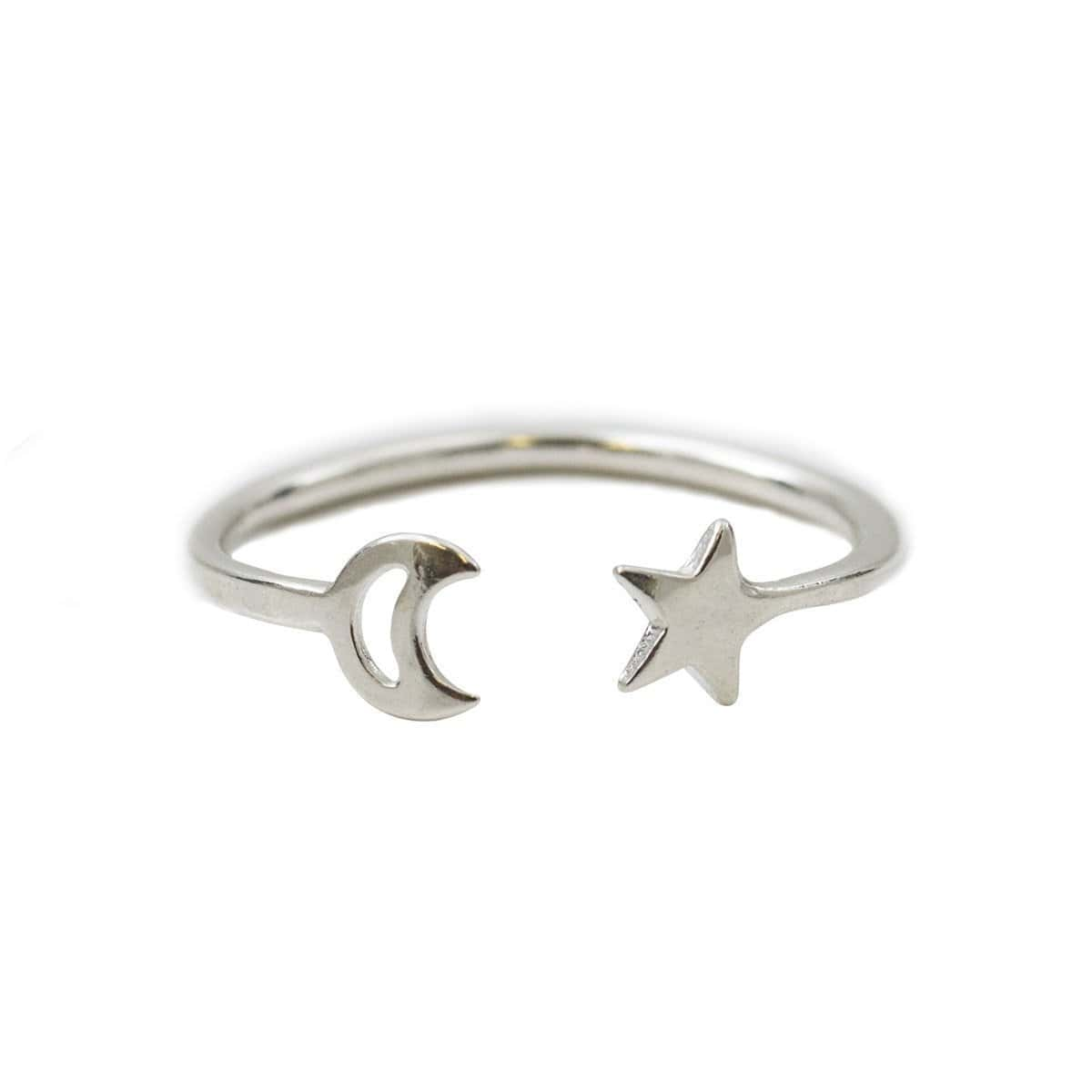 Moon And Star Open Ring Sterling Silver