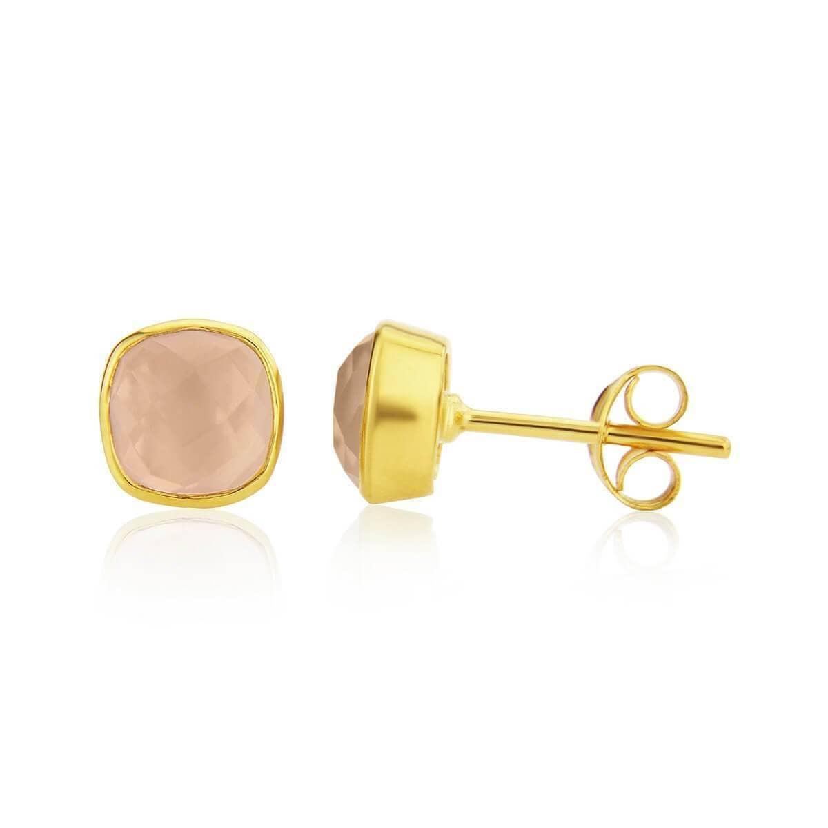 Yellow Gold Plated Brooklyn Rose Quartz Stud Earrings