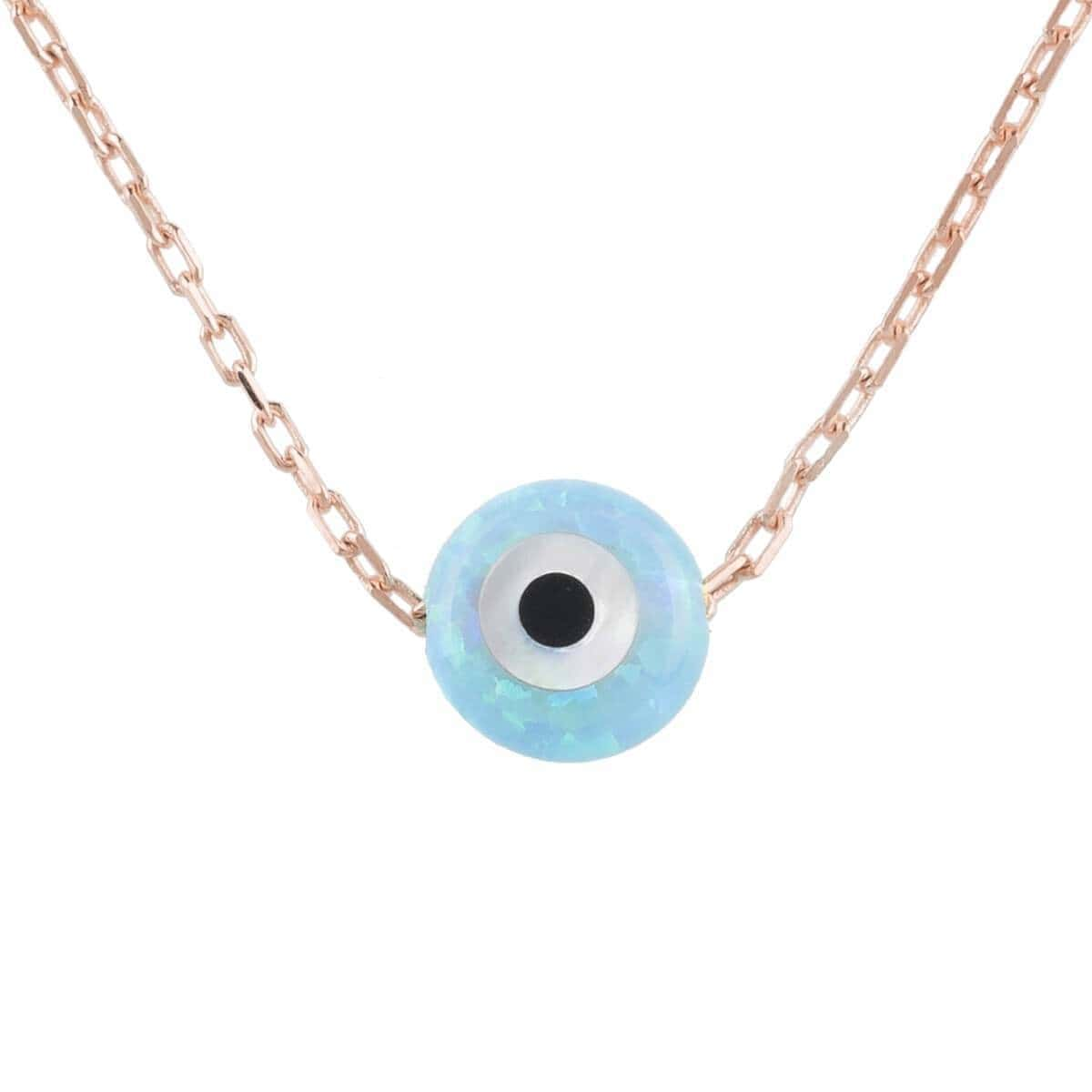 Rose Gold Plated Mini Opalite Evil Eye Necklace