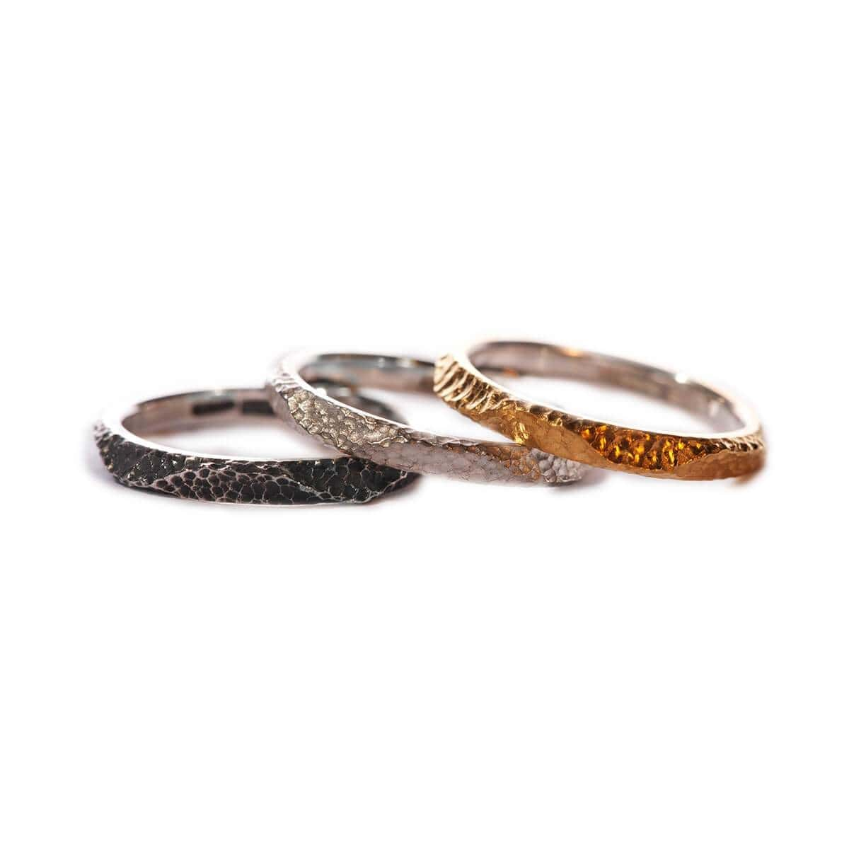 Textured Stacking Rings in Silver, Oxidised Silver, & Gold Plating