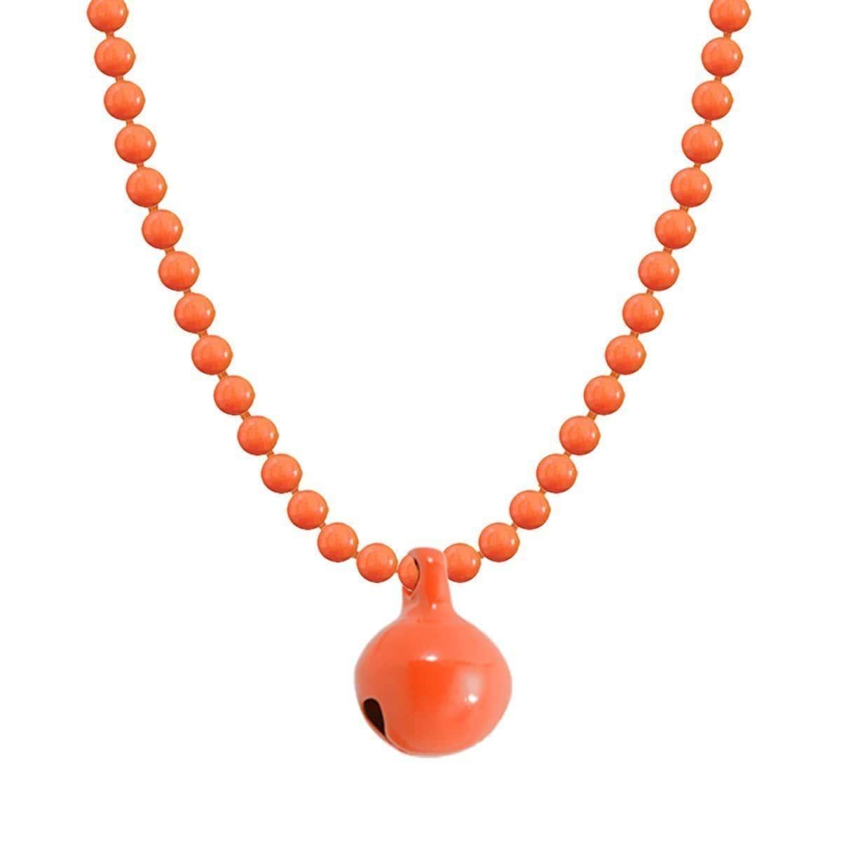 Allumette Neon Bell Necklace - Neon Orange