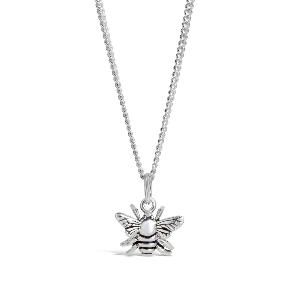The Silver Bee Pendant by Lily Blanche.  This sweet little silver bee pendant will have you all abuzz. Charming and a delight to wear, layer with the Lily Blanche bee locket for a thoroughly modern look. Chain included. Comes in rose gold, silver and gold.  About The Designer:  Based in her studio in Stirling, creative director of Lily Blanche, Gillian Crawford takes inspiration from her grandmother. Lily Blanche jewellery is imbued with meaning and hidden secrets, creating heirlooms of tomorrow from the conversation pieces of today. Charming, adventurous, authentic & stylish, every piece is designed to surprise & delight.   To find out more about the designer, please visit Lily Blanche.  IN STOCK  Designed and handcrafted for you by Lily Blanche  Chain Length  As low as £35.00 Be the first to review this product 1 ADD TO CART ADD TO WISH LIST ADD TO COMPARE 14 day returns Estimated delivery date: Tuesday, 24 December 2019 More Information Reviews Delivery and Returns Why Shop With JewelStreet Skip to the end of the images gallery