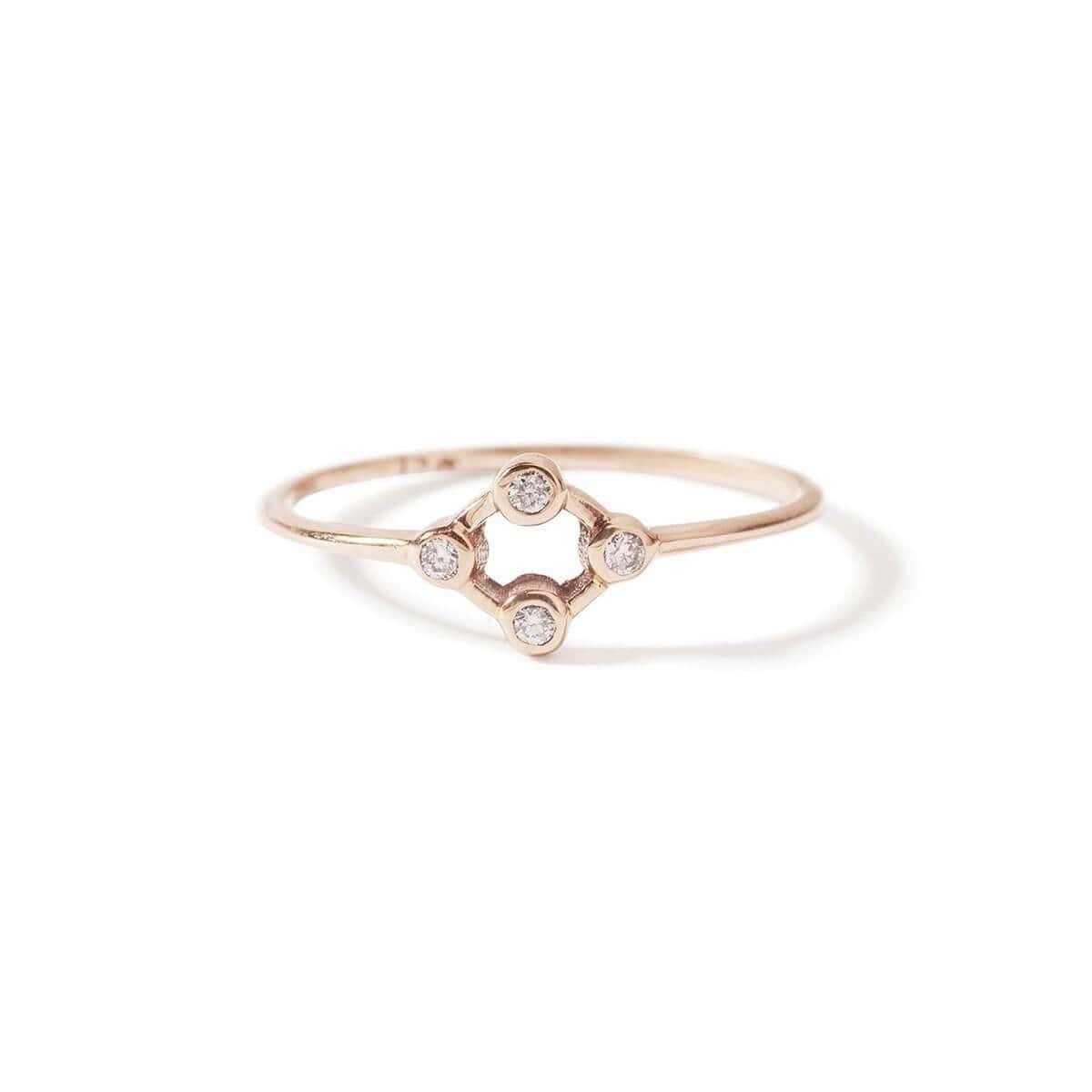 9kt Rose Gold Cluster Diamond Ring