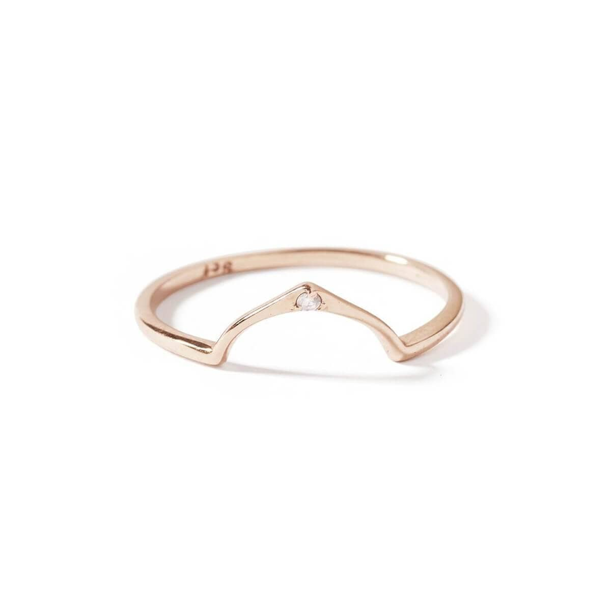 9kt Rose Gold Wishbone Diamond Ring
