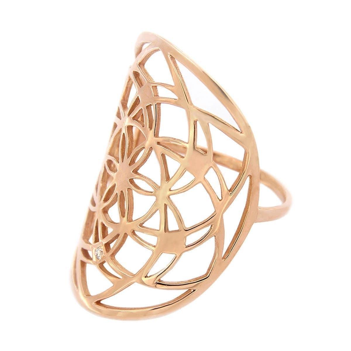 Rose Gold & Diamond Flower of Life Ring   Tiny-Om