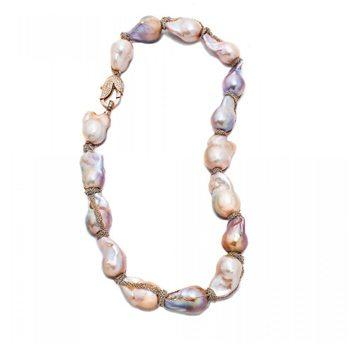 Natural Color Baroque Pearl Gold Chain Wrap Necklace