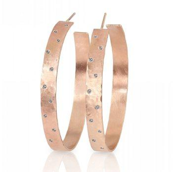 Opar Small 14k Rose Gold Wide Hoop Earrings With Scattered Diamonds