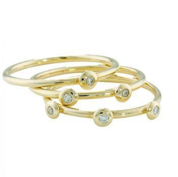 Portobello Yellow Gold Raindrop Diamond Stacking Rings