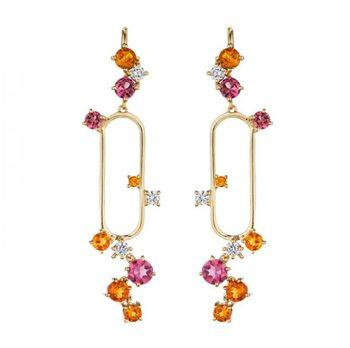 maPink Tourmaline And Citrine Melting Ice Earrings