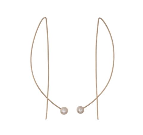 14kt Gold-fill Long Wire Pearl Earrings