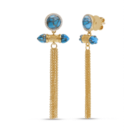 Sunkissed Turquoise & Diamond Chandelier Earrings
