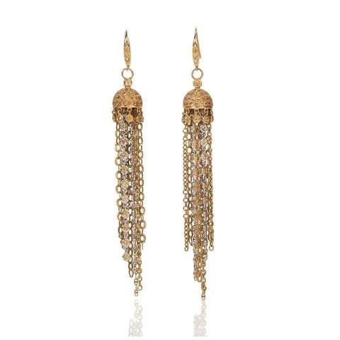 18kt White and Yellow Gold Jellyfish Earrings With Yellow Sapphires